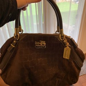 Coach brown suede handbag